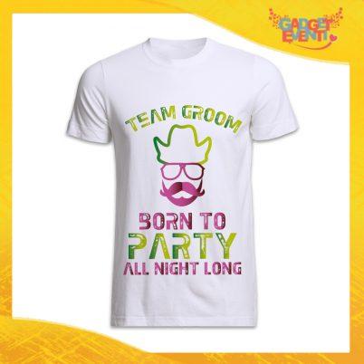 """T-Shirt Uomo Bianca Addio al Celibato Maglietta """"Born To Be Wild Team"""" Gadget Eventi"""