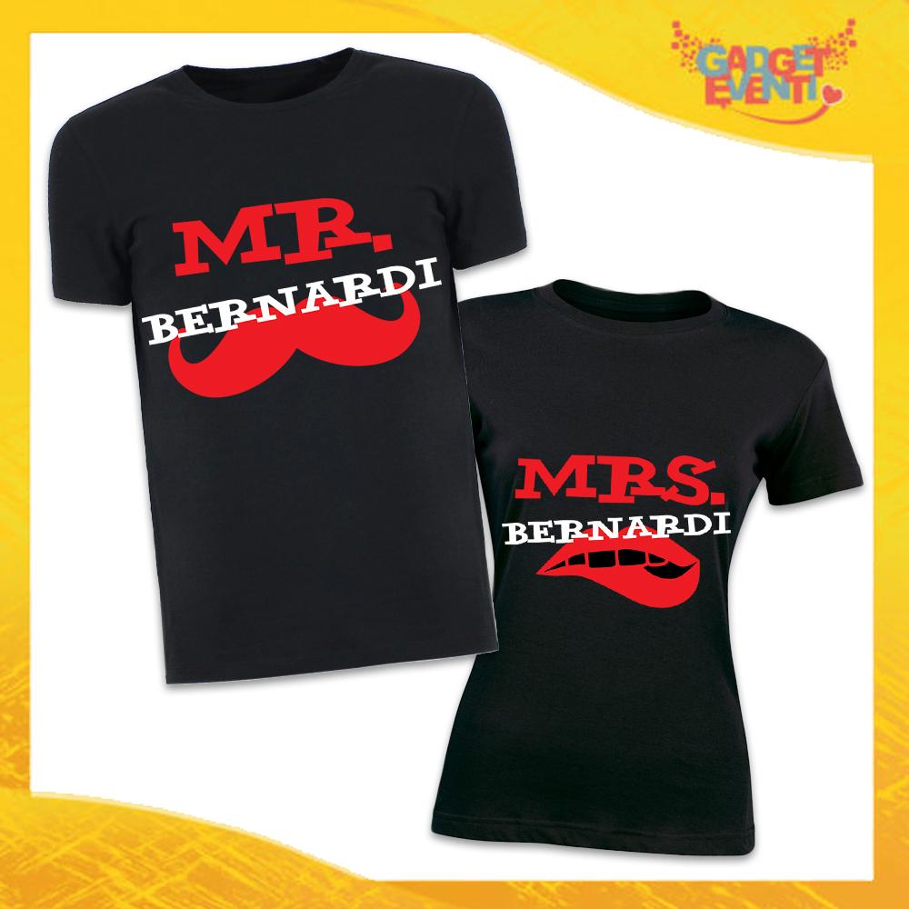 """Coppia di T-Shirt Nero Love """"Coppia Mr and Mrs"""" San Valentino, Magliette Per Innamorati Uomo Donna Gadget Eventi"""