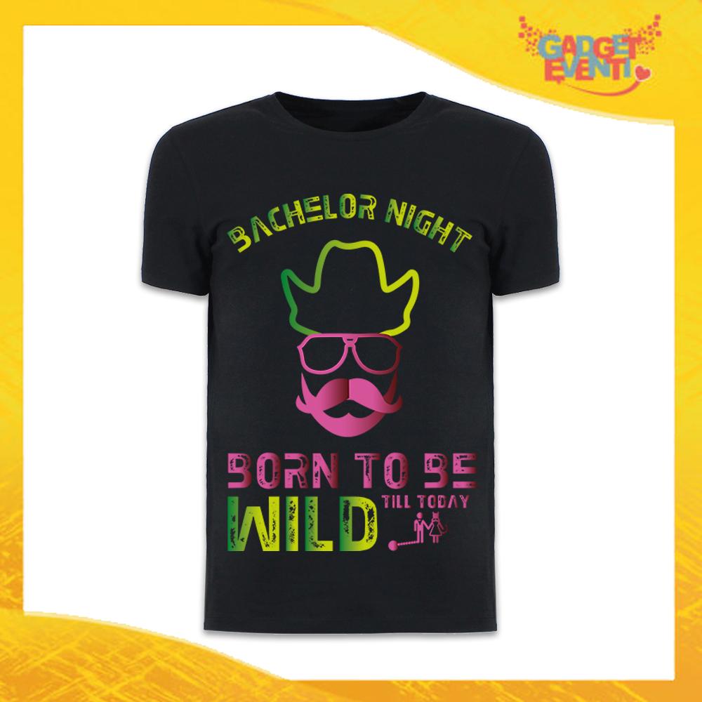 """T-Shirt Uomo Nera Addio al Celibato Maglietta """"Born To Be Wild Sposo"""" Gadget Eventi"""