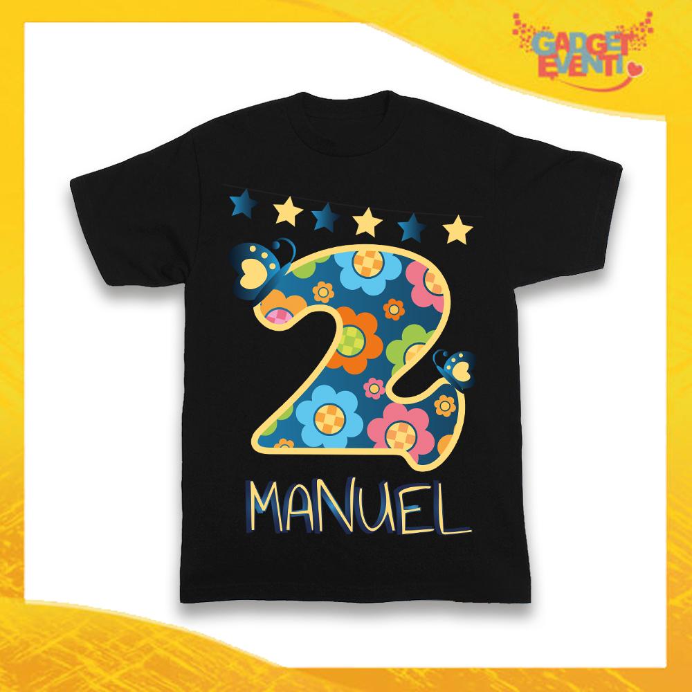 """T-Shirt Nera bimbo """"Farfalle Nome e Numero"""" Idea Regalo Per Compleanni Gadget Eventi"""