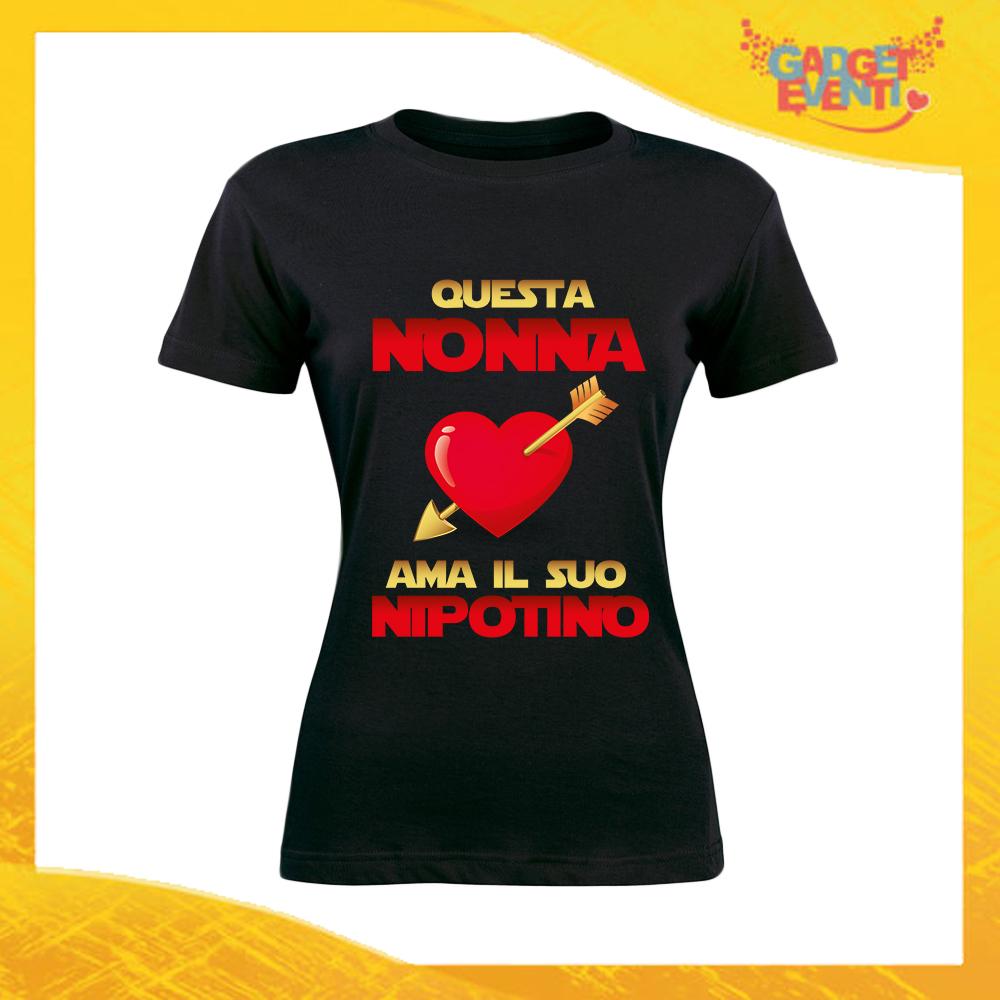 """Maglietta Donna Nera """"Questa Nonna Ama il suo Nipote"""" Idea Regalo Nonna T-Shirt Festa dei Nonni Gadget Eventi"""