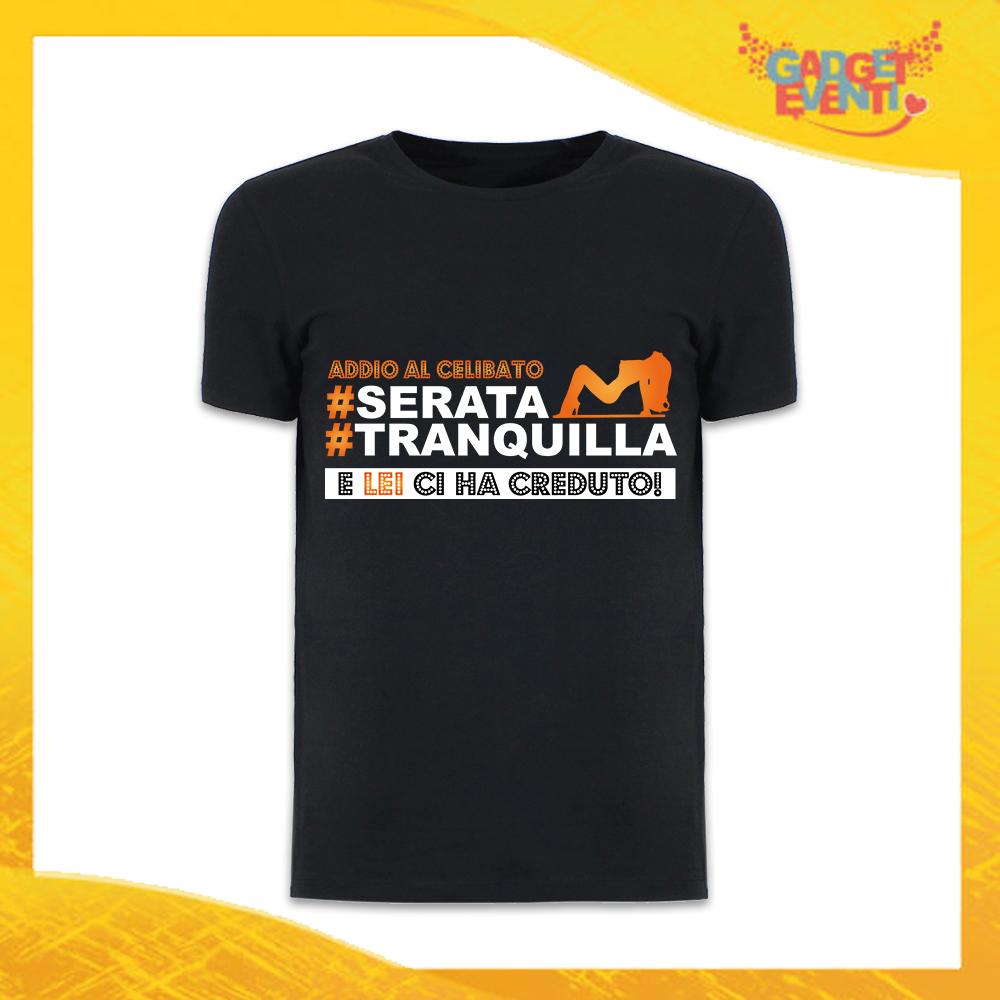 """T-Shirt Uomo Nera Addio al Celibato Maglietta """"Serata Tranquilla Team"""" Gadget Eventi"""