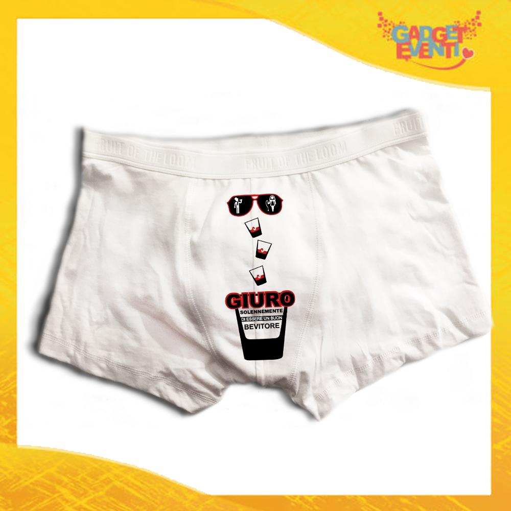 """Boxer da Uomo Bianco Personalizzato """"Giuro Solennemente"""" Articolo Intimo Per Addii al Celibato Gadget Eventi"""