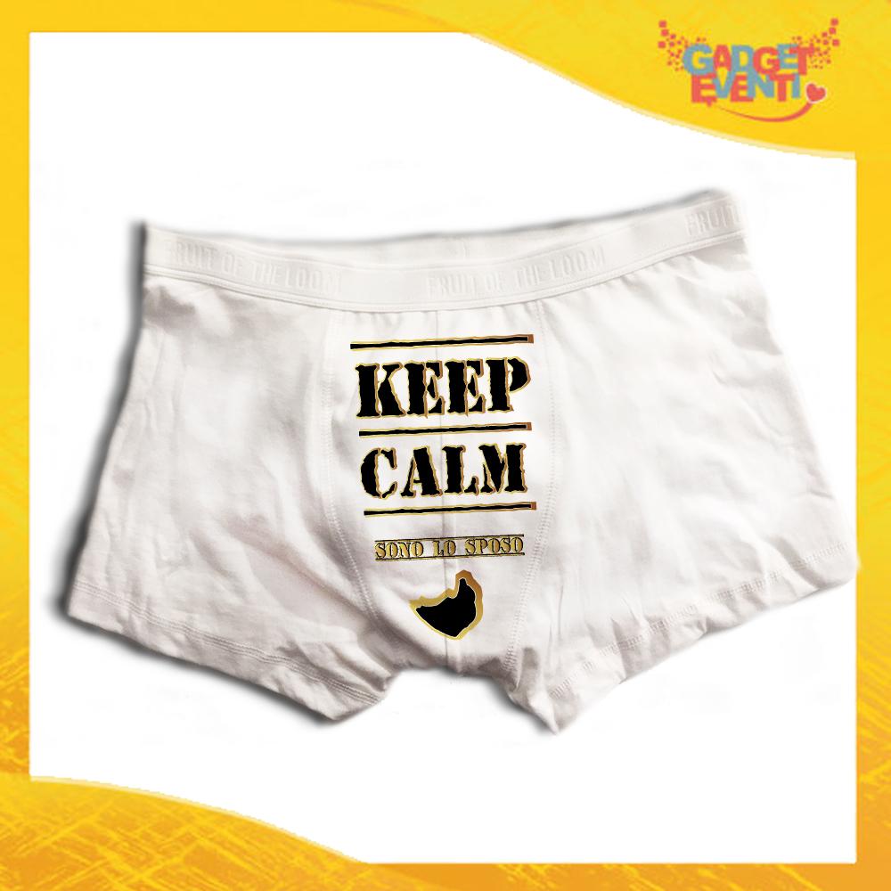 """Boxer da Uomo Bianco Personalizzato """"Keep Calm Sposo"""" Articolo Intimo Per Addii al Celibato Gadget Eventi"""