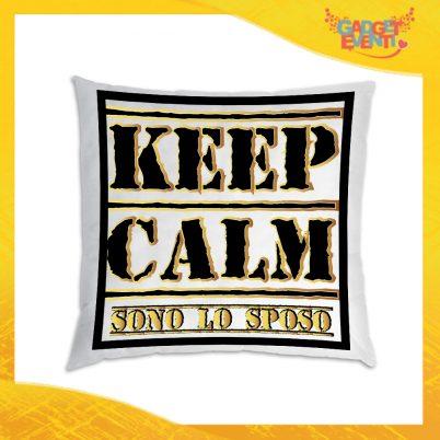 """Cuscino Quadrato Uomo Divano Letto Poltrona """"Keep Calm Sposo"""" Idea Regalo Addio al Celibato per Coppie Gadget Eventi"""