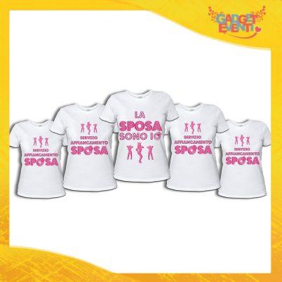 """Pacchetto di T-Shirt Bianche Donna """"Servizio Affiancamento Sposa"""" Addio al Nubilato Smanicato Femminile Divertente per feste e Party pre matrimoniali Gadget Eventi"""