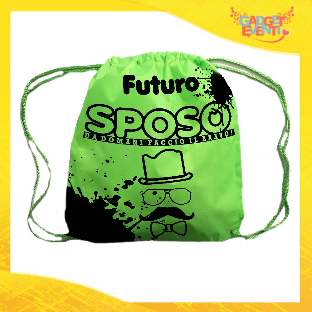 """Sacca Sport Verde Fluo """"Futuro Sposo Sosteniamolo Tutti"""" Idea Regalo Per Addii al Celibato Gadget Eventi"""