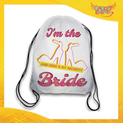 "Sacca Sport Bianca ""Bride Security"" Idea Regalo Per Addii al Nubilato Gadget Eventi"