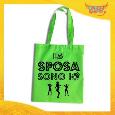 """Borsa Shopper Verde Fluo """"La Sposa Sono Io"""" Idea Regalo Per Addii al Nubilato Gadget Eventi"""