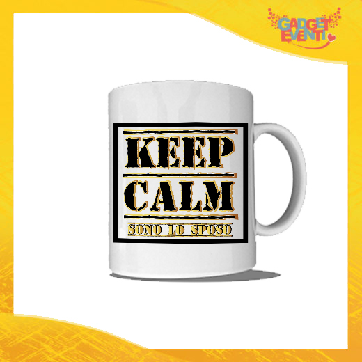 """Tazza Bianca Personalizzata """"Keep Calm Sposo"""" Mug Colazione Breakfast Idea Regalo Addio al Celibato Gadget Eventi"""