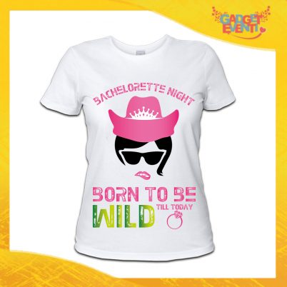 """T-Shirt Donna Bianca Addio al Nubilato Maglietta """"Born To Be Wild Sposa"""" Gadget Eventi"""