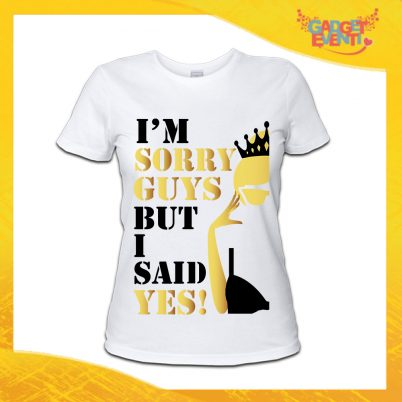 "T-Shirt Donna Bianca Addio al Nubilato Maglietta ""I'm Sorry Guys"" Gadget Eventi"