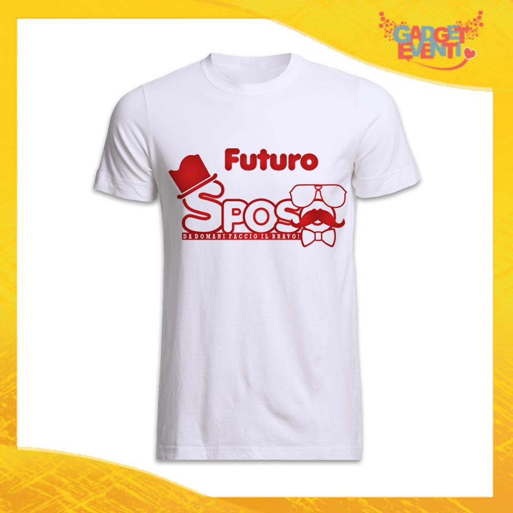 """T-Shirt Uomo Bianca Addio al Celibato Maglietta """"Futuro Sposo Sosteniamolo Tutti"""" Gadget Eventi"""