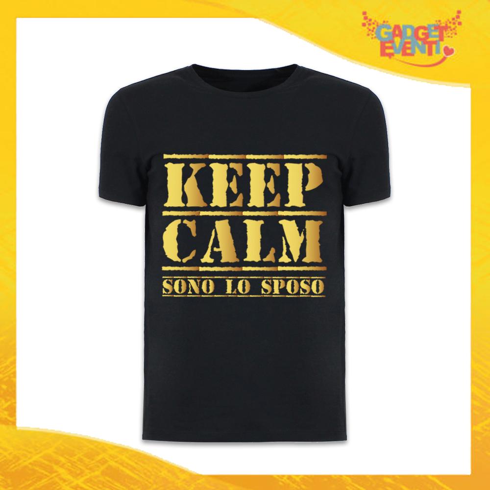"""T-Shirt Uomo Nera Addio al Celibato Maglietta """"Keep Calm Sposo"""" Gadget Eventi"""