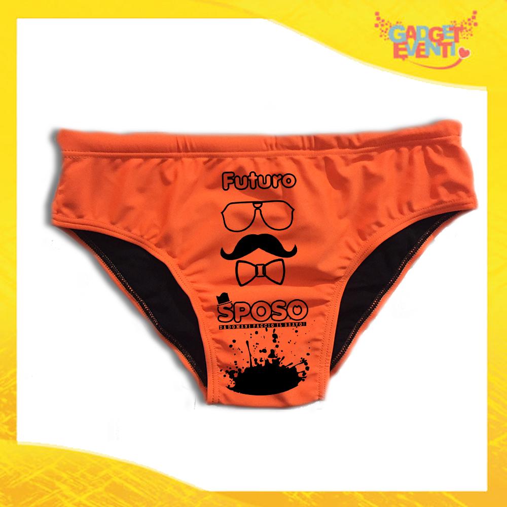 """Costume Celibato Slip Arancio Fluo Personalizzato """"Futuro Sposo Sosteniamolo Tutti"""""""