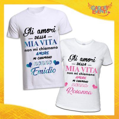 COPPIA TSHIRT NONNI MI CHIAMANO NONNO/A BIANCO