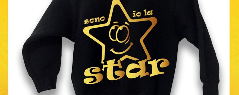 FELPA NERA SONO IO LA STAR ORO