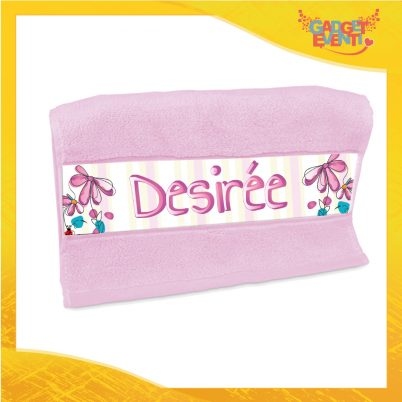 Asciugamano bimba personalizzato con nome Fiorellini
