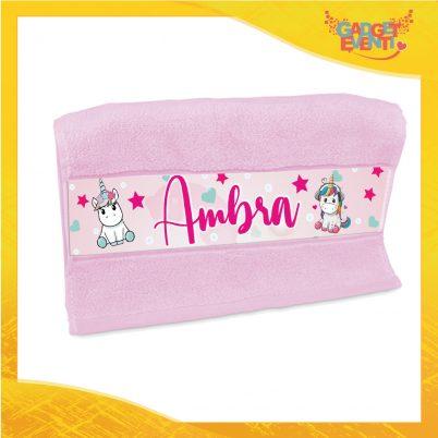 Asciugamano bimba unicorno personalizzabile con nome