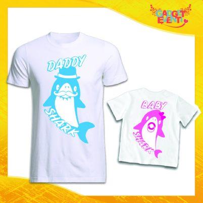 """Coppia di T-Shirt """"Dad and Baby Shark"""" Maglietta Padre Figlio Maglia Idea Regalo Festa del Papà Gadget Eventi"""