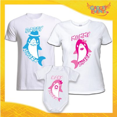 Tris di T-Shirt con Body DADDY MOMMY AND BABY SHARK BIANCO FEMMINUCCIA