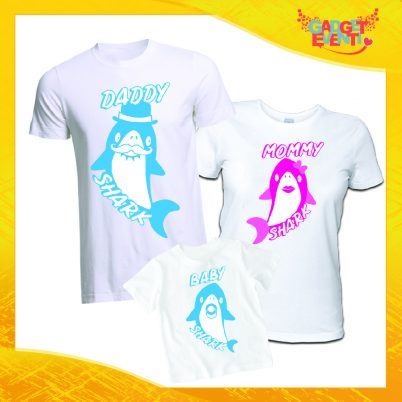 Tris di T-Shirt Dad mommy and Baby Shark bianco Maschietto
