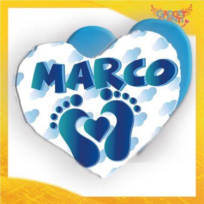 cuscino cuore bimbo personalizzato con nome cuore piedini