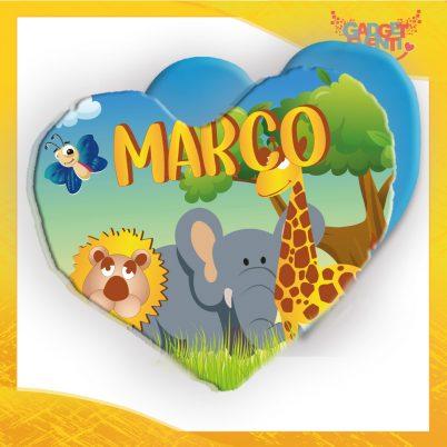 cuscino cuore bimbo personalizzato con nome safari