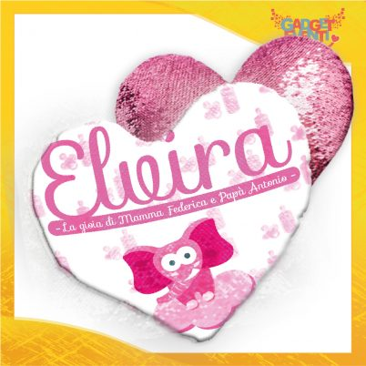 Cuscino cuore paillettes bimba personalizzato con nome Elefantino Nuvoletta