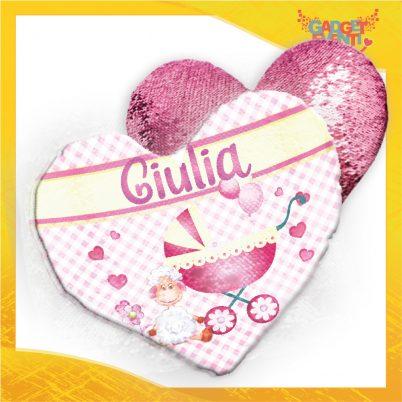 Cuscino cuore paillettes bimba personalizzato con nome Pecorella