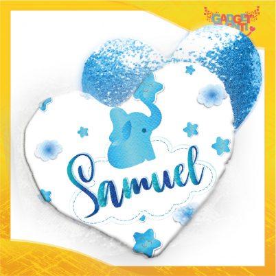 cuscino cuore paillettes personalizzato con nome Elefantino