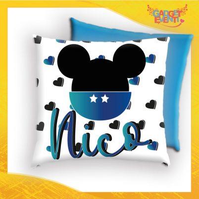 Cuscino quadrato bimbo personalizzato con nome topolino scarpette