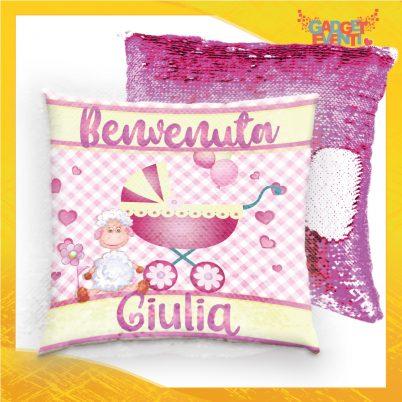Cuscino Paillettes bimba personalizzato con nome Pecorella