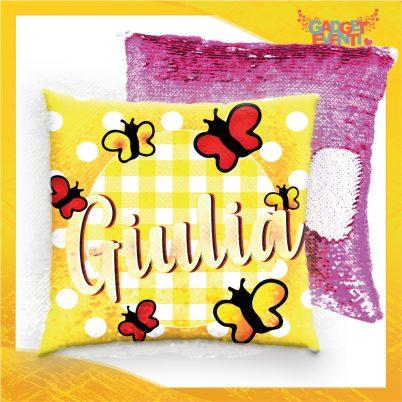 Cuscino paillette personalizzato con nome Farfalline