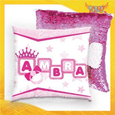 Cuscino quadrato paillettes bimba personalizzato con nome Dadini