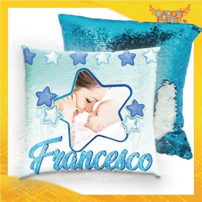 Cuscino quadrato paillette bimbo personalizzato con nome Stelline