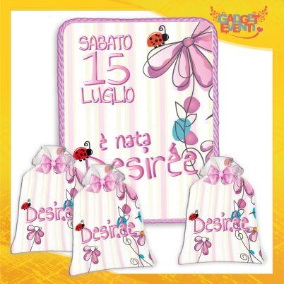 kit quadretto nascita con sacchetti bomboniere personalizzate con nome bimba fiorellini