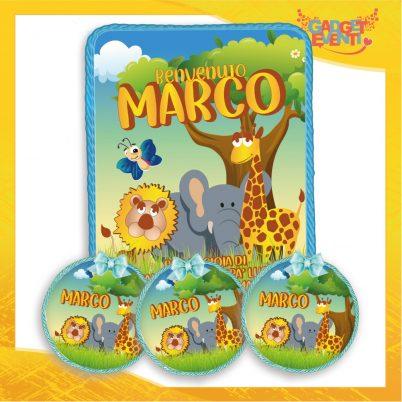 Kit quadretto nascita con segnaposto bomboniere personalizzate con nome bimbo safari