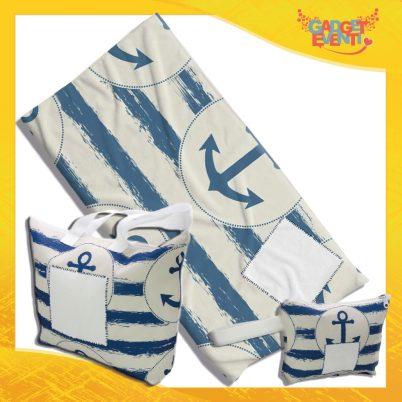 Kit Mare Completo telo borsa e borsello personalizzato con nome e foto Ancore a righe bianche e blu